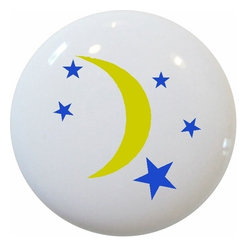 Carolina Hardware and Decor, LLC - Celestial Moon Stars Ceramic Knob - New 1 1/2 inch ceramic cabinet, drawer, or furniture knob with mounting hardware included. Also works great in a bathroom or on bi-fold closet doors (may require longer screws).  Item can be wiped clean with a soft damp cloth.  Great addition and nice finishing touch to any room.