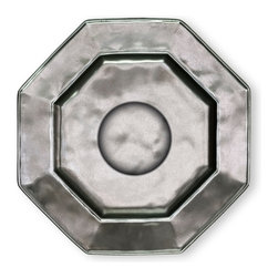 Pewter Stoneware Saucer - Octagonal - A lustrous addition to your dinnerware collection, the Pewter Stoneware Saucer bestows burnished refinement to your dining table. With its unexpected geometric form, the saucer lends a loveliness that is timeless, while presenting a beautiful resting place for a cup of tea or coffee savored after an evening of dining with cherished guests.