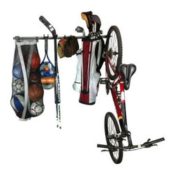 Monkey Bar Storage Sports Storage Rack - The Monkey Bars Sports Storage Rack will hold 8 to 10 basketballs, volleyballs, soccer balls, or footballs. The hooks will hold football pads, baseball gloves and bats, hockey sticks and pads, lacrosse sticks and pads, helmets, tennis racquets, golf bags, and it will even hold one bike. The rack can store all these types of gear using just 4 feet of wall space.About Monkey Bars StorageLooking for a solution to your storage problems? Monkey Bars Storage has the answer. The company's multi-use shelf-rack systems allows you to create storage solutions based on your changing needs. Simplify your home with Monkey Bars.