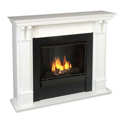 Real Flame - Real Flame Ashley Gel Fuel Fireplace in White Finish - Real Flame - Fireplaces - 7100W - Best selling item! Handsome pillars with curved supports create an understated elegance in any room. Available in Mahogany Oak White and Blackwash. Uses 13 oz. cans of Real Flame Gel fuel.