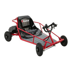 "Razor - Razor Dune Buggy Electric Battery Powered Go Kart - 25143511 - Shop for Go Karts from Hayneedle.com! Get your off-road game right with a Razor Dune Buggy Electric Riding Toy. It's the most fun a kid can have on four wheels.We all wanted to drive well before we had any business doing so. Kids today thanks to the good folks at Razor have the right to put the pedal to the metal. This is one bad machine in a good way. The 350-watt reduction drive electric motor provides maximum torque for off-road and climbing fun. The knobby tires and smooth ride suspension make molehills out of mountains. It requires no fuel to run and stays powered for up to 45 minutes of continuous use. It is fully recharged in as little as 12 hours so your little Baja racer can use it every day. It features a twist-grip accelerator and hand-operated rear disc brake. It can handle a rider of up to 120 lbs. Designed for ages 8 and up it will be a favorite toy for years to come. A 9 mph top speed provides fun without too much risk. If you're worried about safety the seatbelt keeps your child safely inside. Tools are included to help with assembly. If you're looking to make a big impression with a gift this year this dune buggy will carry you to the summit.About Razor USABased in Cerritos CA Razor USA is home of the amazingly popular Razor Electric Scooter as well as other fun designs like the Pocket Mod Pocket Rocket Ground Force and more. Privately owned Razor is also known for their support of ""Team Razor "" pro scooter athletes ages 9 to 20 who tour the world giving demonstrations and going to competitions for scooter athletes. Razor's huge line-up of product awards include ""Toy of the Year"" from the Toy Industry Association and from TIME magazine Parents Sports Illustrated for Kids US News & World Report and a long list of others. The company was founded in June 2000 and is at the head of the list when it comes to creative innovative toys and recreational items for kids of various ages."