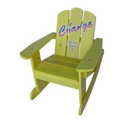 "Kids Rocking Chair - Yellow - Give your kids a positive message while they relax with the Kids Adirondack Chair - Yellow. Emblazoned with the slogan """"Change we can believe in,"""" this vibrant yellow chair is an inspiring piece of outdoor furniture. Durably constructed of sustainably grown fir wood, this chair includes easy-to-follow assembly instructions and a wrench for easy set-up."