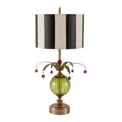Harlequin Light - Harlequin Green Jester Lamp - Created by lighting designer Mollie Woods, this spirited lamp features olive green hand blown glass, parchment drum shade hand painted in black stripes, green painted metal leaves, and red accents.  Signed and dated.