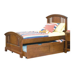 American Woodcrafters - American Woodcrafters Bradford Full Panel Bed with Trundle Unit in Rich Cherry - A perfect fit for your childrens room, this Bradford Full Panel Bed with Trundle Unit by American Woodcraftersmakes for a fun, practical, and beautiful addition. Featuring an under bed trundle unit, this bed is perfect for a family with visitors or childrens sleepovers. Arched crown rails with open slats with cherry veneer panels give this already beautiful piece and even more stunning look. This bed is available in Twin size also.