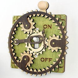 Planetary Gear Light Switch Plate by Green Tree Jewelry - Holy moly, the intricate gears and fulcrums and all kinds of hand-crafted mechanical light switch covers in this Etsy shop are simply stunning. They're a definite must for the mechanical engineer (if that's what a mechanical engineer does).