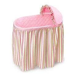 Badger Basket Embrace Bassinet with Stripe & Pink Bedding Set - With gorgeous complementing stripes the Badger Basket Embrace Bassinet with Stripe & Pink Bedding Set is where you'll love watching your baby sleep peacefully while feeling safe and comfortable. Durably made this lovely bassinet has plastic legs and frame with metal hardware and a chipboard basket while the vinyl covered foam pad makes clean up easy should your little one have a leak in the middle of the night. The caster wheels makes moving the bassinet simple although you should never move the bassinet while your baby is inside. Complete with a skirt quilted liner sheet and hood cover your baby's bassinet will be ready for your baby when she arrives. Made from 100% cotton while the padding is the liner is 100% polyester filled the bedding is machine washable while the bassinet is easy to clean with a damp cloth. The bassinet is intended to be used with the included bedding and some assembly is required. Additional Features Caster wheels makes moving the bassinet simple Bedding features a lovely striped design Bedding set is 100% cotton Padding in liner is 100% polyester filled Bedding is machine washable Bassinet is easy to clean with a damp cloth Bassinet has plain walls Bassinet is intended to be used with bedding set Bassinet is made in the USA Some assembly required Badger Basket CompanyFor over 65 years Badger Basket Company has been a premier manufacturer of baskets bassinets bassinet bedding changing tables doll furniture hampers toy boxes and more for infants babies and children. Badger Basket Company creates beautiful and comfortable products that are continually updated and refreshed bringing you exciting new styles and fashions that complement the nostalgic and traditional products in the Badger Basket line.