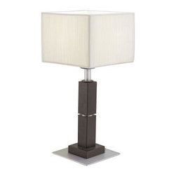Eglo - Brown Table Lamp: Tosca 17-1/2 in. Antique Brown Table Lamp with Cream Colored T - Shop for Lighting & Fans at The Home Depot. The Eglo Tosca 17-1/2 in. Table Lamp helps provide illumination for your living room or bedroom. The 2-toned base has an antique brown finish for a warm and cozy appearance. The square-shaped twine shade adds a traditional touch. This table lamp features a black chord with a polarized switch.