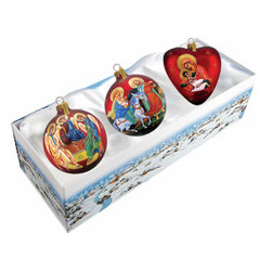 "Set of Three Nativity Holy Family Christmas Ornaments w/ Gift Box - Measures 5.5""H x 13.5""L x 4""W and weighs 1.5 lbs. Invite the beauty of the season into your home with the G. DeBrekht collection of hand painted glass Christmas ornaments, inspired by an old Russian Fedoskino and Palekh Artistic technique. Decorating your Christmas tree is a special time for families, with G. DeBrekht ornaments you can choose your style and create a true gallery of art for your family to enjoy. G. DeBrekht fine art traditional, vintage style glass holiday ornaments are artistically hand painted with a combination of transparent and opaque paint for a realistic, deep iridescent lighting effect on each G. DeBrekht ornament. Each ornament is adorned with a miniature detailed Christmas scene, accented with touches of gold or silver, finished with a lovely satin ribbon and then placed in a luxurious satin lined box. In the spirit of giving, G. DeBrekht ornaments and decor also make beautiful Christmas and holiday gifts to share with loved ones. Every G. DeBrekht ornament and decoration is an original work of art sure to be cherished as a family tradition for generations to come. Some ornaments may have slight variations of the decoration on the ornament due to the hand painted nature of the product."
