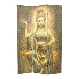 Oriental Unlimted - 6 ft. Tall Kwan Yin with Lotus Bamboo Room Di - Featuring Kwan Yin, the goddess of mercy and compassion, in a graceful pose, this matchstick bamboo room divider will be an artistic addition to any decor. The three-panel divider is perfect for creating privacy or adding visual interest to any space, and features two-way hinges for added versatility. This stunning room divider depicts the goddess Kwan Yin holding a Lotus blossom. Kwan Yin is the goddess of mercy and compassion. Crafted of bamboo matchsticks in a sleek, frameless design. Natural bamboo matchsticks are tightly woven to provide privacy. Image is shown on both front and back of screen. 2-Way hinges mean you can bend the panels in either direction. 70.25 in. H x 15.5 in. W (per panel). Stands approximately 44 in. wide with panels folded to stand upright