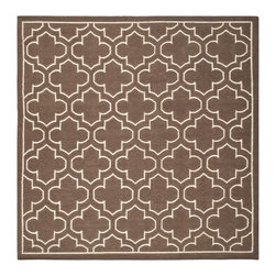 Safavieh - Montague Dhurrie, Brown / Ivory 7' X 7' - Construction Method: Hand Woven Flat Weave. Country of Origin: India. Care Instructions: Vacuum Regularly To Prevent Dust And Crumbs From Settling Into The Roots Of The Fibers. Avoid Direct And Continuous Exposure To Sunlight. Use Rug Protectors Under The Legs Of Heavy Furniture To Avoid Flattening Piles. Do Not Pull Loose Ends; Clip Them With Scissors To Remove. Turn Carpet Occasionally To Equalize Wear. Remove Spills Immediately. The classic geometric motifs of Safavieh's flat weave Dhurrie Collection are equally at home in casual, contemporary, and traditional settings. We use pure wool to best recreate the original texture and soft colorations of antique dhurries prized by collectors. The Dhurrie weave is native to India, and every step in our production process faithfully follows the traditions of local artisans. The results are natural, organic and with wonderful nuances in pattern and tone.