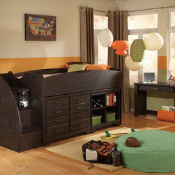 Standard Furniture - Standard Furniture Hideout 2 Piece Kids' Loft Bedroom Set in Dark Pecan - Hideout combines handsome transitional styling with well planned function, great storage options, and the flexibility to create customized room arrangements - - all wishes of youth and parents today.  - 66350-LB-2-SET.  Product features: Smart design features include bluff cuts for a map drawer look, smooth line base rails and desirable extras like dry erase board surfaces and oversized storage ottomans for lounging; Hideout's mid height Loft Bed allows a twin size sleeping area above with a Single Dresser and Bookcase fitting beneath; For safety there's a sturdy built-in side rail and attached stair unit with nonslip steps, allowing for three drawers within the stair end panel; Twin and Full Size Panel Beds are available, with flat crowns that coordinate with the Vertical Mirror; There is also Twin and Full Storage Bookcase Headboards, plus a trundle unit that works with a Storage Dresser as its footboard; For clothing storage there is a Double Dresser with Vertical Mirror, 4-Drawer Chest and 2-Drawer Nightstand, plus a Table Desk for studying; Hideout has sturdy folded case construction using durable engineered wood products with warm dark pecan grained laminate veneers and smoked chrome bar pull hardware. Product includes: Loft Bed (1); Desk (1). 2 Piece Kids' Loft Bedroom Set in Dark Pecan belongs to Hideout Collection by Standard Furniture.