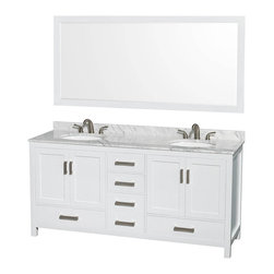 "Wyndham Collection - Wyndham Collection Sheffield 72"" White, White Carrera Marble, Oval Sink - Wyndham Collection®"