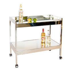 "Worlds Away - Worlds Away Roland Nickel Bar Cart - Recalling an era of unplugged home entertainment, the Roland bar cart delivers high fashion and function. Mirrored in signature Worlds Away style, the cart is set on casters for easy mobility. 37""W x 22""D x 28""H; Nickel-plated finish; 2 mirror shelves"