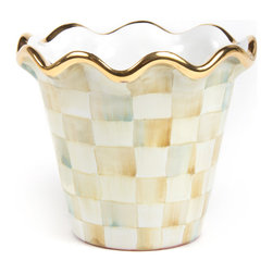 """4"""" Parchment Check Flower Pot   MacKenzie-Childs - A splendid jardinière for tabletops, mantelpieces, and master bath vanities, picture our 4"""" Parchment Check Flower Pot with your finest flora as an extraordinary accent in your favorite room. Hand-painted ceramic with Parchment Checks, gold lustre, and fluted edges. For indoor and warm-weather outdoor use."""
