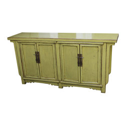 Mortise & Tenon - Lime Green Vintage Cabinet - Vibrant lime green Asian cabinet with wood detail.
