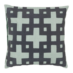 Cross & Dot Shades of Gray Pillow - Include geometrical comfort to your life with our 100% cotton Cross & Dot Shades of Gray Square Pillow. Perfect for couches, beds, and chairs, the pattern?Ûªs stunning blue will enrich and liven up any room you toss it in.