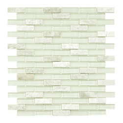 Somertile - SomerTile 12x12-in Reflections Subway 5/8x2-in Ming Glass/Stone Mosaic Tile (Pac - Modernize your kitchen, backsplash, or bath with this translucent glass/stone mosaic tile. Impervious to water, this smooth glass and stone tile is ideal for indoor and outdoor use, and comes in subtle green and white tones that provide a soft look.