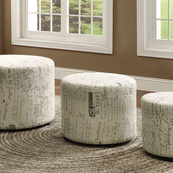 "Coaster - Large Ottoman - Set of 3 - Function meets vintage style. Add this 3-piece ottoman set to your living room to add more seating. Each ottoman, in three sizes, are wrapped in a French Script linen-like fabric.; Finish/Color: French script pattern; Upholstery: Linen-like Fabric; Dimensions: 27.50""L x 27.50""W x 19.75""H"
