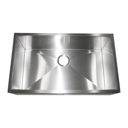 """Ariel - 32 Inch Stainless Steel Flat Front Farm Apron Single Bowl Kitchen Sink - Enhance your kitchen with a masterpiece. 100% handcrafted with a unique and versatile design. The Ariel 32 inch Stainless Steel Flat Front Farm Apron is a great centerpiece for any modern kitchen. Exterior Dimensions 32"""" x 19"""". Interior Dimensions 30"""" x 17"""". Apron Depth 10"""". Bowl Depth 10""""."""