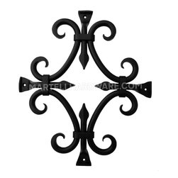 "Agave Ironworks [GR015-01] Wrought Iron Door Speakeasy Grille - Round Bar Fancy - This flat black finish rustic wrought iron speakeasy door grille provides a great finishing and functional touch to any solid wood passage door, wood gates and even garage doors. A distinctive hammered grate using 1/2"" round iron bar is attached over the speakeasy door. Photo by Martell Supply, LLC."