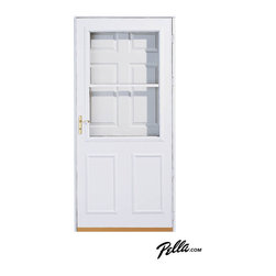 Pella® Highview self-storing storm door in white - Pella self-storing storm doors feature adjustable glass panels for instant ventilation — the screen stays in the door year-round. Open it to catch the breeze, or close it to watch the rain. Available in Midview and Highview styles to help protect the screen and your entry door from children and pets.