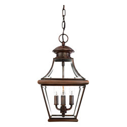 Quoizel - Quoizel CAR1801AC Carleton Traditional Outdoor Hanging Light - The historical design of the Carleton outdoor fixture will bring a handsome colonial appeal to your home. The antique style solid copper, square tapered frame with a curved top eloquently displays the clear beveled glass, adding an elegant touch to the light.