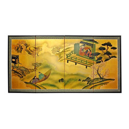 "Oriental Furniture - 36"" Gold Leaf River View - Evoke images of the Orient with this soft and beautiful, hand-painted gold leaf rendition of a river view. Note that no two renderings are exactly the same. Subtle, beautiful hand painted wall art."