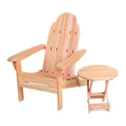All Things Cedar - Cedar Folding Adirondack with Free Folding Table - Folding Adirondack Chair with Free Folding Side Table Item is made to order.