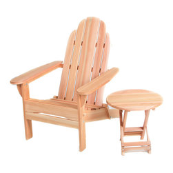 All Things Cedar - Cedar Folding Adirondack with Free Folding Table - Folding Adirondack Chair with Free Folding Side Table Item is made to order.