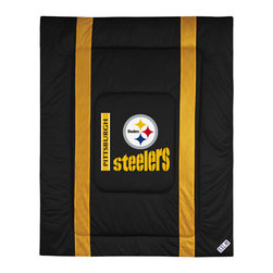 "Sports Coverage - Pittsburgh Steelers Sidelines Comforter - This solid colored jersey mesh comforter is a great way to show support for your favorite team, and it makes the perfect gift for the ultimate fan. Each comforter looks and feels like a real jersey and has the team logo centered on solid team colors. It offers a machine washable design with warm and comfortable polyester fill. Sideline option adds a long mesh line along each side of the logo for a stylish effect. Comforters are available in Twin and Full/Queen sizes. Features: -Pittsburgh Steelers theme -Screen-printed team graphic -100% polyester jersey mesh -100% polyester fill -5.5 oz. bonded polyester batts -Machine washable -Made in USA -Twin size: 86"" H x 68"" W -Full/Queen size: 86"" H x 86"" W"