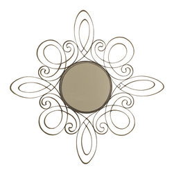 Welcome Home Accents - Oil Rubbed Bronze Metal Swirl Wall Mirror - Scrolled oil rubbed bronze metal swirled mirror with hooks on back fro easy hanging. Dust with a dry cloth. Made in China