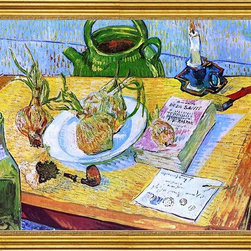 """Vincent Van Gogh-18""""x24"""" Framed Canvas - 18"""" x 24"""" Vincent Van Gogh Still Life: Drawing Board, Pipe, Onions and Sealing Wax framed premium canvas print reproduced to meet museum quality standards. Our museum quality canvas prints are produced using high-precision print technology for a more accurate reproduction printed on high quality canvas with fade-resistant, archival inks. Our progressive business model allows us to offer works of art to you at the best wholesale pricing, significantly less than art gallery prices, affordable to all. This artwork is hand stretched onto wooden stretcher bars, then mounted into our 3"""" wide gold finish frame with black panel by one of our expert framers. Our framed canvas print comes with hardware, ready to hang on your wall.  We present a comprehensive collection of exceptional canvas art reproductions by Vincent Van Gogh."""