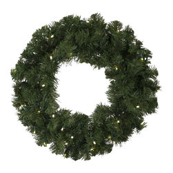 "Seasonal Source - 24"" Pre-Lit Oregon Fir LED Wreath, 35 Warm White LED Lights - Our 24"" diameter commercial quality holiday wreath is full and luxurious.  Each wreath is pre-decorated with 35 LED lights."