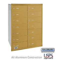 Salsbury Industries - 4B+ Horizontal Mailbox - 14 B Doors - Gold - Rear Loading - USPS Access - 4B+ Horizontal Mailbox - 14 B Doors - Gold - Rear Loading - USPS Access