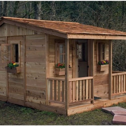Oakland Living - Cozy Cabin Cedar Playhouse Multicolor - CCP97 - Shop for Tents and Playhouses from Hayneedle.com! Additional Features Door has an additional window Hardware for assembly is included Perfect for boys and girls alike the Cozy Cabin Cedar Playhouse is the perfect hideaway as your children disappear into fairytales and adventures for hours at a time. Crafted from safe and durable Western Red Cedar this playhouse has four functional windows and four flower boxes. You and your kids will enjoy taking the time to personalize this little cabin with your choice of flowers curtains and other little design touches. The solid wood door even has an added window. The 2-foot porch is great is great for conversations or staying out of the rain. The Cozy Cabin Playhouse arrives at your home panelized for quick assembly so your kids won't have to wait long to have a little place of their own. About Cedar WoodCedar wood is lightweight and resistant to both cracking and moisture rot. The oils of this resilient wood guard against insect attack and decay and their distinctive aroma acts as a mild insect repellant. Cedar is a dependable choice for outdoor furniture either as a finished or unfinished wood. Over time unfinished cedar left outdoors will weather to a silvery gray patina. This natural process does not compromise the strength or integrity of the wood. Another great aspect of cedar is its environmental effect - which is minimal. A renewable resource cedar wood emits low greenhouse gases. So rest assured knowing that your beautiful cedar furniture is a green choice too! About Outdoor Living TodayOutdoor Living Today has a simple goal. That goal is to provide the best wood products to the marketplace at the best value. Established in 1974 Outdoor Living Today has a well-earned reputation for making products that are functional durable attractive and affordable. Products are designed so that the average person with limited building skills can assemble them. Gazebos sheds playhouses and pergolas are all uniquely designed and constructed from beautiful Western red cedar.