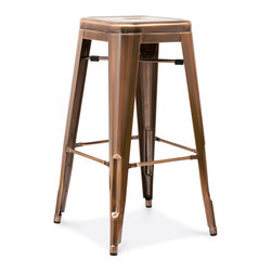 Design Lab MN - Dreux Stackable Vintage Copper Steel Barstool, Set of 4 - The Dreux steel stackable barstool is a fantastic designed barstool to add to any restaurant, bistro or coffee house. This barstool is produced in rolled steel which can withstand any high traffic area. It also can be stacked to save space if needed. Produced by Design Lab MN, this product is manufacturer to highest standards in the furniture industry.