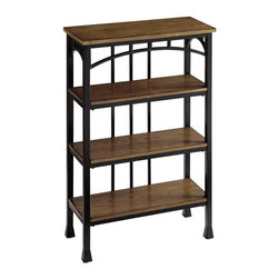 HomeStyles - Modern Craftsman Four Tier Shelf - Reminiscent of the American Craftsman Era with understated style and simplicity, the Modern Craftsman Four Tier Shelf is constructed of brown powder-coated metal accented with gold highlighting, and distressed oak veneer shelves. This multifaceted storage shelf will meet all your storage needs, and will complement any bathroom. This shelf is equipped with four 20.75 inches wide by 7.75 inches deep fixed shelves. Other features include levelers on the feet for added stability. Assembly required. 24 in. W x 11 in. D x 38.25 in. H