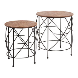 """Imax - Oliver Iron and Wood Tables - Set of 2 - *Dimensions: 21.75-25.75""""h x 17.75-23""""d"""