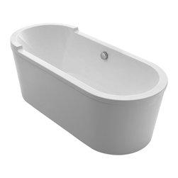 "Whitehaus - Freestanding Soaker Tub - Whitehaus WHVT180BATH 70"" Bathhaus Oval Single Sided Armrest Style Freestanding Acrylic Tub White"