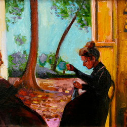Mending (Original) by Linda Lesperance - Two French ladies mending clothing by the garden doors in the late afernoon