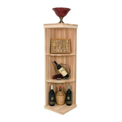 Wine Cellar Innovations - Vintner 4 ft. Quarter Round Display Wine Rack (All-Heart Redwood - Unstained) - Choose Wood Type and Stain: All-Heart Redwood - UnstainedCustom and organized look. Versatile wine racking. Four shelves. Can accommodate just about any ceiling height. Optional base platform: 13.38 in. W x 13.38 in. D x 3.81in. H (5 lbs.). Wine rack: 13.38 in. W x 13.38 in. D x 47.19 in. H (4 lbs.). Vintner collection. Made in USA. Warranty. Assembly Instructions. Rack should be attached to a wall to prevent wobbleThe Vintner Series Quarter Round Display Wine Rack is perfect for displaying decanters, champagne buckets, or fine wine accessories.. Rack should be attached to a wall to prevent wobble