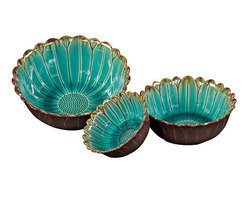 Home Decorators Collection - Rosalee Ceramic Bowls - Set of 3 - Your table will be in bloom with our Rosalee Ceramic Bowls. Each of these ceramic bowls opens like a flower, petals rendered in outline across the sea blue interior. The mocha color of the outside of the bowl offers warm contrast. Set of three sea blue and mocha ceramic bowls. Three sizes. Not food safe.