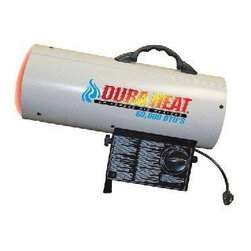 "World Marketing - DuraHeat Forced Air Outdoor - DuraHeat LP Forced Air - Variable heat setting. Heats up to 1500 sq. ft. Operates 7 - 14 hours on a single 20lb. LP cylinder. Continuous ignition. Ideal for agricultural, industrial, construction and DIY applications. Includes 10ft hose and regulator. Dimensions: 13.5"" x 7.8"" x 18.2"""