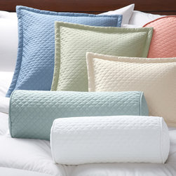 Quilted Twill Pillow Covers - Our pillow covers in 100% cotton twill are quilted for texture and visual appeal. They're shrinkage controlled and mercerized to bring out the fabric's luster and give it a smoother feel. The pillow covers feature soft polyester batting, self-piping on edges, and hidden zipper closures. They are Oeko-Tex® certified to be free from all harmful chemicals and dyes and safe for you and your family. Our pillow covers fit all Cuddledown pillow inserts. They also coordinate with our 400 Thread Count Sateen and our Scroll Jacquard bedding collections.