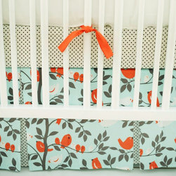 New Arrivals Crib Bedding, Feather Your Nest, Aqua - I love this crib bedding featuring a mama bird and her babies. The soft blues, greens and oranges make a great color palette for a gender-neutral nursery.