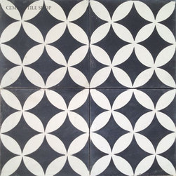 "In Stock Cement Tile - ""Circulos Black"" cement tile from Cement Tile Shop in Black and White"