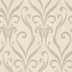 Kenneth James - Medusa Taupe Swirl Modern Damask Wallpaper - Add wow to your walls — and your world — with this impressive paper. This bold design of sweeping swirls comes in a subtle hue to be breathtaking, not bulldozing.