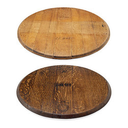 Retired Wine Barrel Lazy Susan - These wine barrel boards made me swoon. I can see one propped up against a kitchen wall as a display piece or used to present cheese, antipasti or desserts.