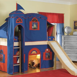 Bolton Furniture - Cottage Low Twin Loft Bed w Top Tent, Tower, Slide & Bottom Curtain - Includes twin headboard & footboard, birch side rail set, low loft kit, Blue & Red bottom curtains in front and two ends, top on Blue with Red trim, top frame, metal tower and slide. Chest not included. Beds come complete with slat roll (no additional support necessary). Solid frame construction built to last. Bed assembly features barrel nut & bolt (metal to metal connections). Made of solid wood & veneers. Twin size bed. Natural finish. Assembly required. 1-Year warranty. 98 in. W x 79 in. D x 65 in. H. Low Loft Assembly Instructions. Curtains Assembly Instructions. Slide Assembly Instructions. Top Tent Assembly Instructions. Tower Assembly Instructions. Bunk Bed Warning. Please read before purchase.. NOTE: ivgStores DOES NOT offer assembly on loft beds or bunk beds.