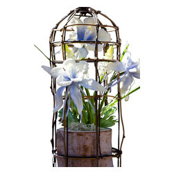 The Firefly Garden - Wild Blue - Illuminated Floral Design, Blue Columbine Flowers - White Lights - Housed in a delicate, grapevine birdcage, Wild Blue features the rare blossoms of the alpine Columbine accented with Muscari. Small in scale yet large in its expressiveness, Wild Blue is a charming accent light for the bedroom, dining room, kitchen or bathroom.